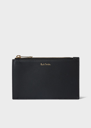 Paul Smith Men's Black Leather Zip Pouch With 'Signature Stripe' Detail