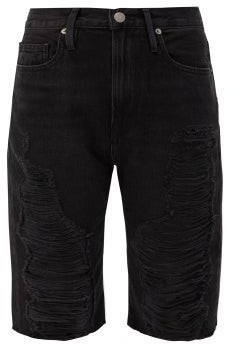 Frame Le Vintage Denim Shorts - Womens - Dark Grey