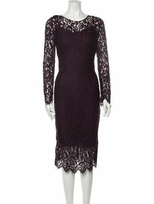 Dolce & Gabbana Lace Pattern Midi Length Dress Purple