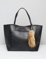 Glamorous Moc Croc Tote With Faux Fox Tail Charm