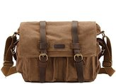 Kattee Classic Military Canvas Shoulder Messenger Bag Leather Straps Fit 16 inch Laptop