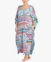 Ellen Tracy Plus Size Printed Stripe-Trimmed Caftan