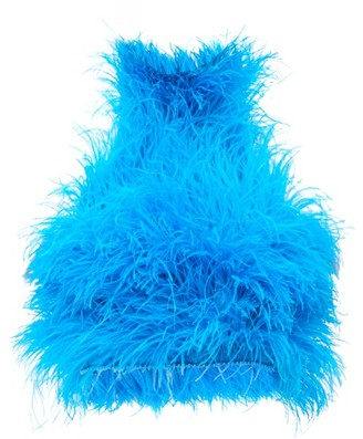ATTICO The Feathered High-neck Tulle Crop Top - Womens - Blue