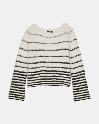 Theory Uneven Stripe Sweater in Wool-Cashmere