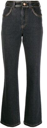See by Chloe Faux-Leather Trimmed Boot-Cut Trousers