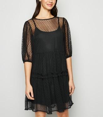 New Look Spot Mesh Smock Dress