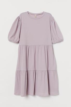 H&M Puff-sleeved jersey dress