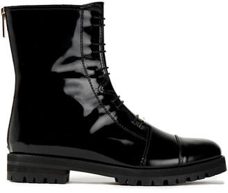 Jimmy Choo Hazel Glossed-leather Combat Boots