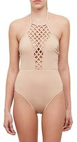 Kenneth Cole New York Women's Lattice High Neck Mio One Pice Swimsuit