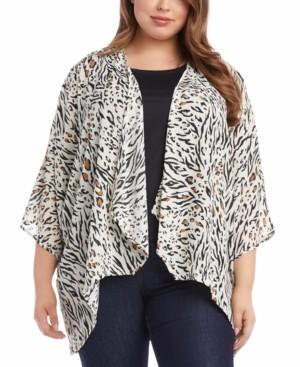 Karen Kane Plus Size Animal-Print Drape-Front Kimono