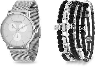 Steve Madden Men's Analog Quartz Mesh Bracelet Watch & Beaded Stretch Bracelet Set