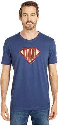 Life is Good Super Dad Shield Crusher Tee (Darkest Blue) Men's Clothing
