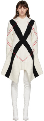 Alexander McQueen White and Black Exploded Argyle Cardigan Dress