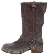 Brunello Cucinelli Distressed Suede Mid-Calf Boots