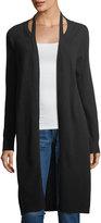 Neiman Marcus Cashmere Cutout Duster Cardigan, Black