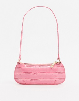 Asos Design DESIGN 90s shoulder bag in pink oversized croc