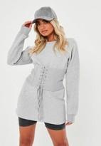 Missguided Grey Corset Detail Sweatshirt