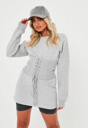 Missguided Petite Gray Corset Detail Sweatshirt