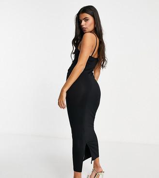 ASOS DESIGN Petite cami cowl neck maxi dress in black