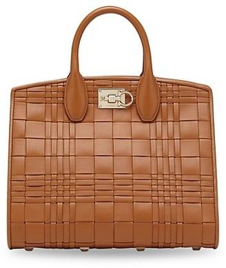 Salvatore Ferragamo Studio Woven Leather Top Handle Bag