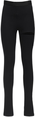 Ann Demeulemeester Stretch Wool Crepe Leggings W/ Cut Out