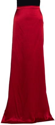 Roberto Cavalli Red Silk Satin Flared Maxi Skirt L