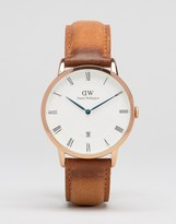 Daniel Wellington Dapper Durham RG 38mm Leather Watch In Rose Gold