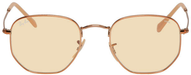 Ray-Ban Copper and Yellow Hexagonal Sunglasses