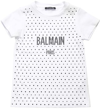 Balmain Embellished Cotton Jersey T-shirt