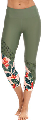 Body Glove Women's Capris CACTUS - Cactus Floral Mesh-Insert Sweet Escape June Capri Leggings - Women