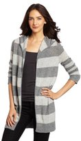 Christopher Fischer Women's 100% Cashmere Striped Featherweight Hooded Sweater