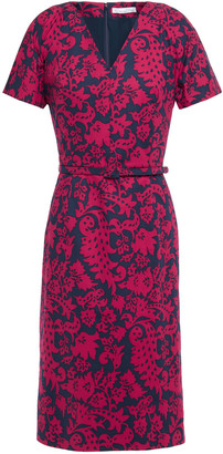 Oscar de la Renta Belted Printed Stretch-cotton Poplin Dress
