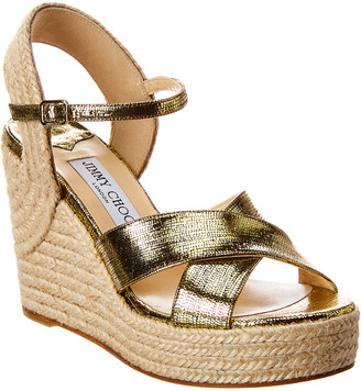 Jimmy Choo Dellena 100 Lizard-Print Metallic Leather Wedge Sandal