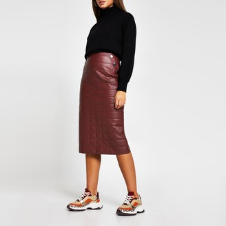 River Island Womens Red faux leather quilted midi pencil skirt