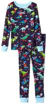 Hatley Winter Sports T-Rex Long Sleeve Pajama Set (Toddler/Little Kids/Big Kids)
