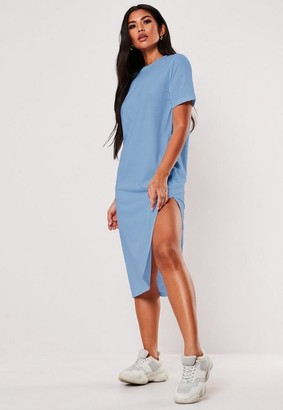 Missguided Blue Basic Midi T Shirt Dress