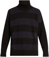 Ami Oversized roll-neck striped alpaca-blend sweater