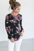 Ampersand Avenue Cassidy Floral Top - Charcoal