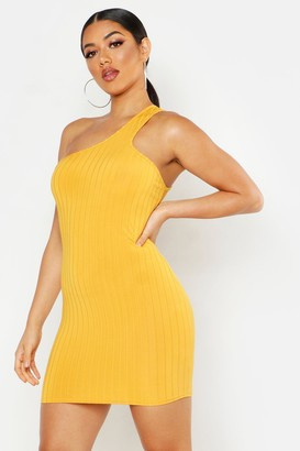 boohoo Ribbed One Shoulder Strap Bodycon Mini Dress