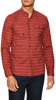 Popover Printed Mandarin Collar Sportshirt