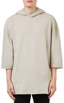 Topman Men's Raw Edge Three Quarter Sleeve Hoodie