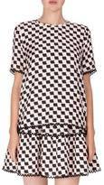 Kenzo Silk Jacquard Scalloped Check Top, White