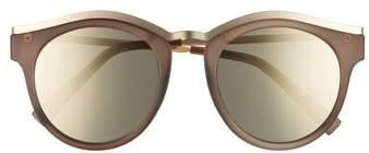Le Specs Women's Hypnotize 50Mm Round Sunglasses - Black Rubber