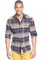 Sean John Big & Tall Shirt, Long Sleeve Oversized Twill Check Shirt