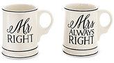 Mud Pie Mr. & Mrs. Right Wedding Mug Set