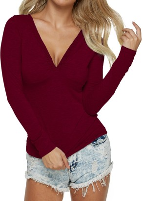 Auxo Women V Neck Long Sleeve T-Shirt Tops Slim Bodycon Lace Splice Casual Blouse Shirt Wine Red L