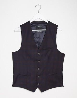 Topman suit waistcoat in burgundy check