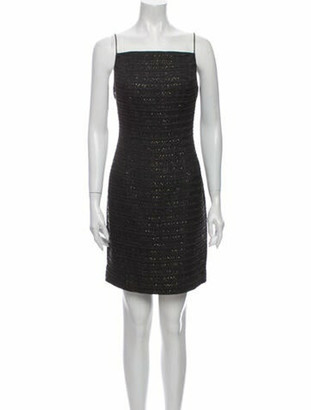 Carmen Marc Valvo Square Neckline Mini Dress Black