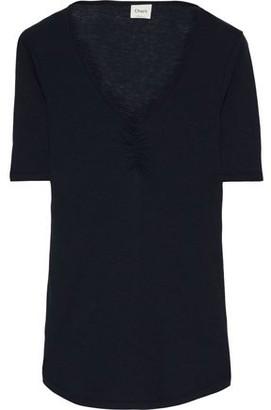 Charli Martine Gathered Melange Stretch-jersey T-shirt