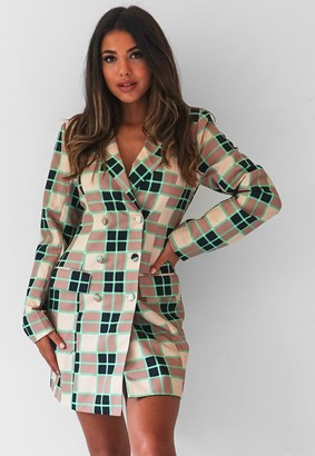 Missguided Green Check Tailored Blazer Dress